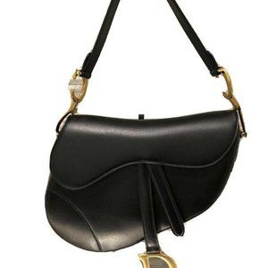 Dior Saddle Flap Bag Gold Hardware Black Leather
